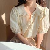 娃娃領上衣 韓風chic設計感小眾娃娃領短袖襯衫女夏季新款法式少女鵝黃色上衣