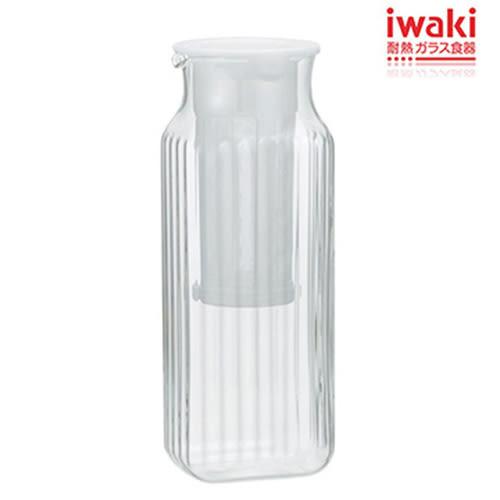 iwaki 方形耐熱玻璃冷水壺 1L(濾茶網白)