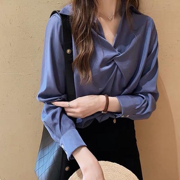 清倉188 韓國風時尚扭結襯衫設計感長袖上衣
