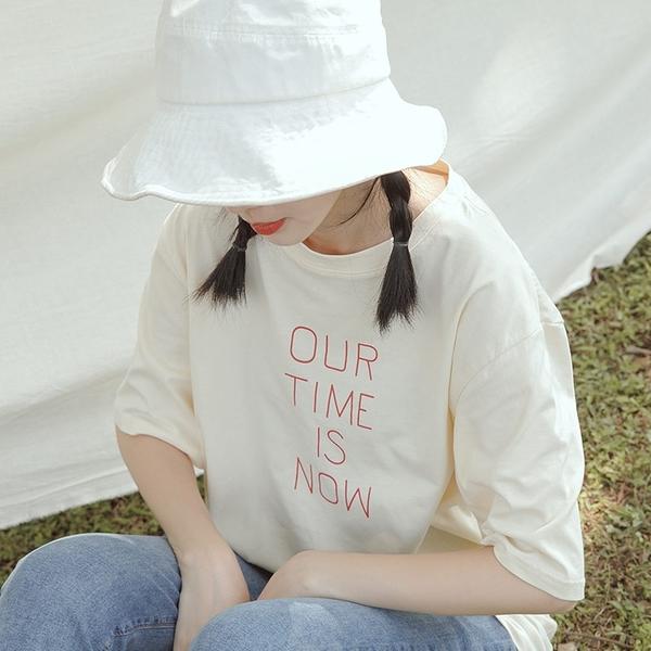 Queen Shop【01038871】我們的時刻標語配色印字T 兩色售*現+預*