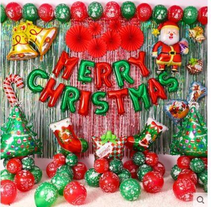 聖誕節鋁膜氣球背景墻字母裝飾套餐幼兒園派對主題活動場景布置 城市科技DF