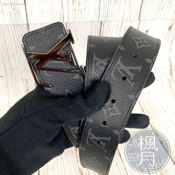 BRAND楓月 LOUIS VUITTON LV扣頭 M9043 黑色原花 皮帶 尺寸100