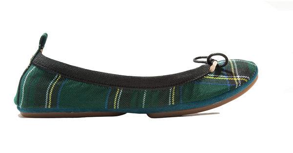(限時↘結帳後1702元)【Yosi Samra】SANDRINE蘇格蘭紋摺疊鞋-綠