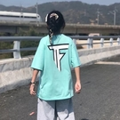 T恤 TF字母印花短袖2021夏季新款女學生韓版t恤寬松百搭港風《朵拉朵》