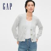 Gap 女裝 棉質舒適紐扣針織外套 539615-亮麻灰色