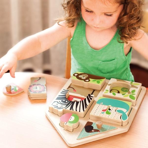 美國SKIP HOP Match & Play Puzzle動物配對拼圖