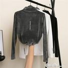 2020秋冬新款半高領長袖緊身t恤女金絲絨打底衫保暖修身內搭上衣 西城故事
