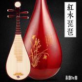 花梨木琵琶初學者成人入門練習兒童彈撥紅木琵琶專業考級民族樂器OB4168『易購3c館』