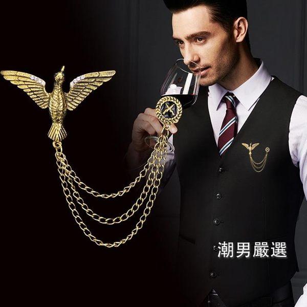 全館一件88折-胸針歐美復古男士胸針大氣老鷹徽章西裝領針配飾西服馬甲裝飾品別針2色