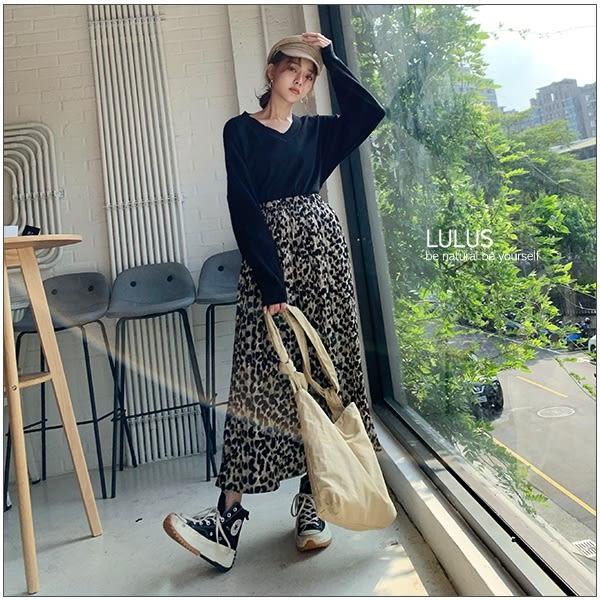 LULUS-C豹紋百摺長裙-2色  【05190066】