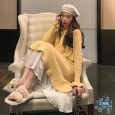 洋裝 2019秋冬新款正韓港味連衣裙網紅中長款寬鬆洋氣套頭針織裙女  艾森堡