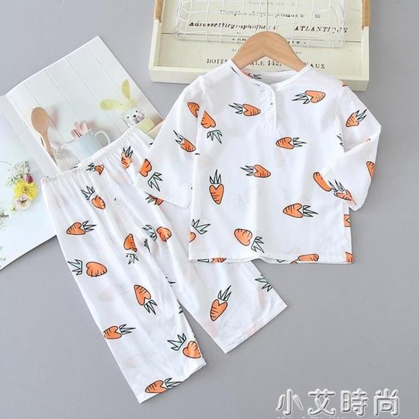 兒童睡衣夏季長袖薄款棉綢中大童女童男孩寶寶男童綿綢空調家居服 小艾新品