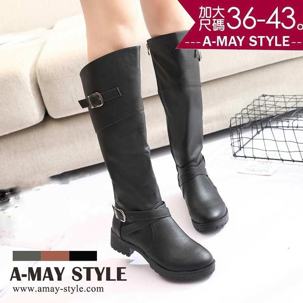加大碼長靴-簡約雙釦飾斜口騎士長靴(36-43碼)