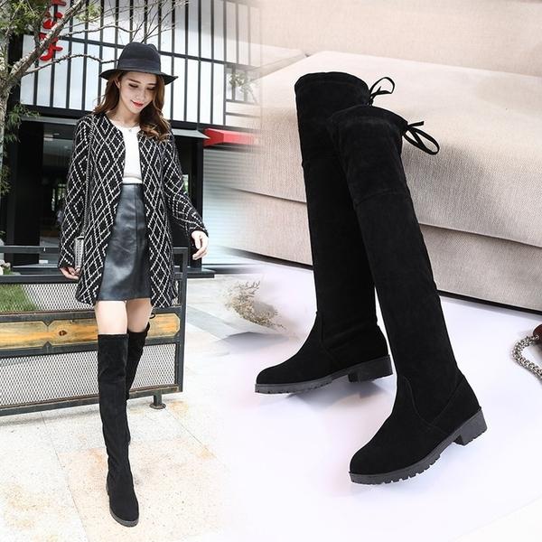 膝上靴 秋冬季新款韓版過膝靴長靴彈力瘦瘦靴女長筒靴高筒平底靴子潮  poly girl