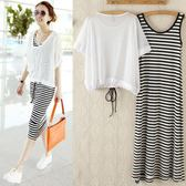 狂歡雙11 韓版女夏裝短袖防曬背心網紗罩衫條紋長裙莫代爾兩件套連身裙套裝