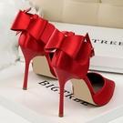 快速出貨 夏季 尖頭單鞋女紅色少女高跟鞋細跟百搭一字扣帶 涼鞋