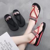新款人字拖厚底涼拖鞋女士夏時尚外穿平底網紅夾腳沙灘鞋海邊百搭