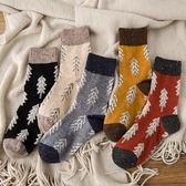 日系加厚秋冬女聖誕復古羊毛襪中筒襪