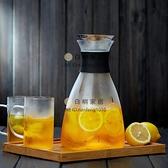 玻璃冷水壺家用耐高溫水瓶套裝玻璃茶壺大容量果汁涼水壺【白嶼家居】