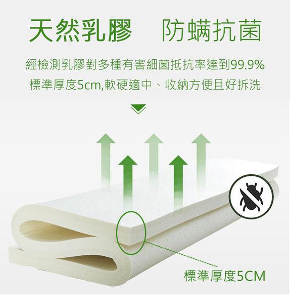 100%天然乳膠床墊_單人3尺 宿舍專用 乳膠墊厚度5CM 加贈100%精梳棉專用布套12色任選 泰國乳膠