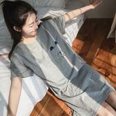 全館八折最後兩天-睡衣女夏 短袖棉質睡裙女夏季正韓可愛少女加大寬鬆家居服可外穿