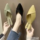 夏季新款包頭半拖鞋女時尚外穿百搭尖頭粗跟...
