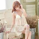 細肩帶娃娃裝有罩杯洋裝睡衣(含內褲) 粉嫩迷情 - 香草甜心