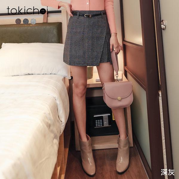 東京著衣-tokichoi-甜美女孩格紋前片開衩多色A字短裙-S.M.L(191268)