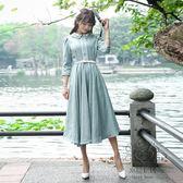 洋裝文藝復古七分袖繡花大擺連身裙修身中長版學生打底裙【幸福家居】