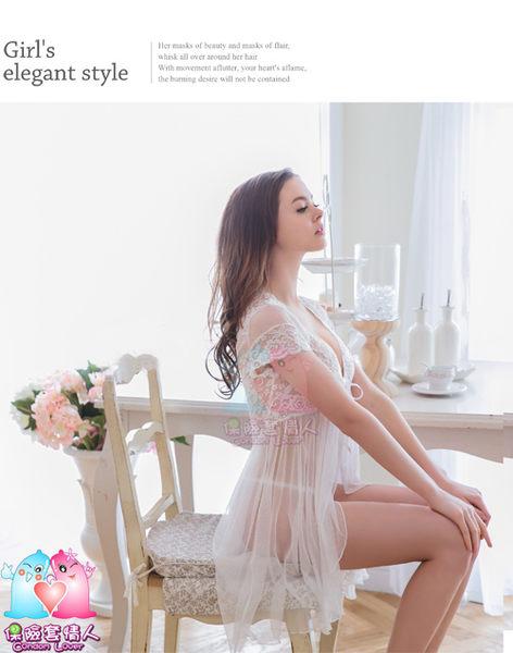 【愛愛雲端】大尺碼 純白蕾絲 柔紗開襟 二件式 睡衣 NY16020020