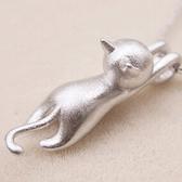 925純銀項鍊-貓咪造型可愛迷人流行銀飾女吊墜子73y110【巴黎精品】