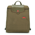 Longchamp 1699 LE PLIAGE 奔馬刺繡折疊尼龍後背包(橄欖綠)480210-A23