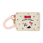 小禮堂 Hello Kitty 皮質彈簧票卡夾 腕繩票卡夾 證件夾 車票夾 (米 愛心) 4550337-73384