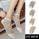 OT SHOP[現貨]襪子 船型襪 短襪 女款 棉質混紡 森林系立體花 曼陀羅/木棉花/小森林/卡其麻花 M1112