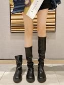 中筒馬丁靴女2020夏季新款網紅長筒靴彈力厚底長靴高筒瘦瘦靴靴子