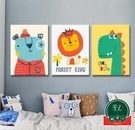 【單幅】兒童臥房床頭掛畫卡通萌寵系列裝飾畫客廳餐廳壁畫【福喜行】