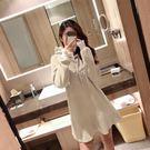 韓版搖粒絨加絨加厚連帽寬鬆連身裙中長款大碼女裝衛衣裙 三角衣櫃