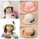 預購-夏季兒童手工編織草帽 公主遮陽沙灘盆帽 女寶寶蝴蝶結漁夫帽子