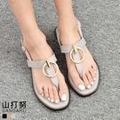 夾腳涼鞋 T字圓釦平底涼鞋- 山打努SANDARU【03823#46】