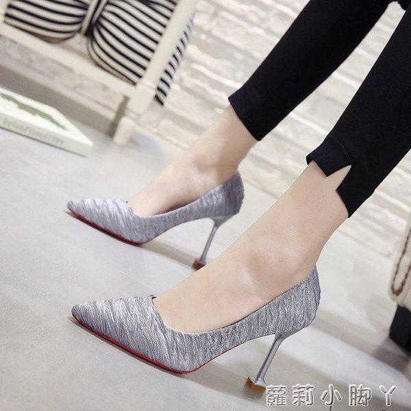 高跟鞋尖頭細跟小清新女春季貓跟鞋百搭中跟單鞋 蘿莉小腳ㄚ