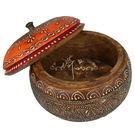 印度手繪木製圓形收納盒/珠寶盒