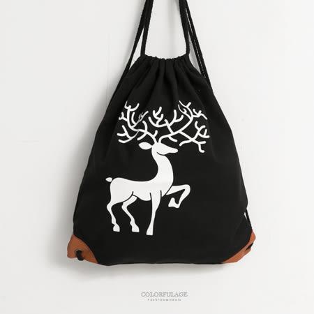束口包 動物風可愛梅花鹿圖案帆布材質束口後背包 簡約束繩設計 柒彩年代【NZ499】休閒款式