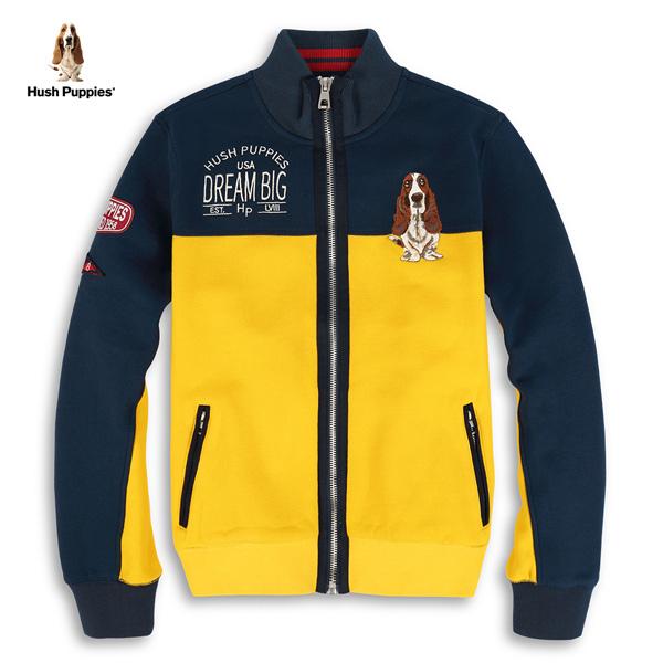 Hush Puppies 刷毛外套 男裝撞色拼接徽章立領外套