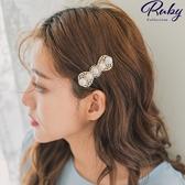 髮飾 韓國直送‧宮廷風珍珠雕花蝴蝶結髮夾-Ruby s 露比午茶