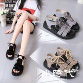 厚底涼鞋 夏季露趾絨面松糕跟中跟防滑百搭軟妹韓國學生露趾