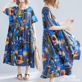 長裙 洋裝 民族風中大尺碼 女裝mm200斤寬鬆顯瘦遮肚子減齡連衣裙2019夏裝新款