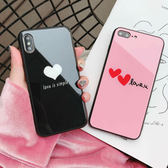 IPhone 6 6S Plus 全包鋼化玻璃背殼 愛心手機殼 TPU邊框保護殼 情侶手機套 防摔防刮保護套 蘋果6 i6
