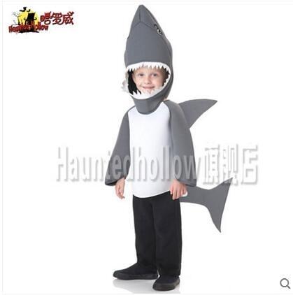 Haunted-hollow哈羅威萬聖節創意動物兒童表演 鯊魚服裝E1850