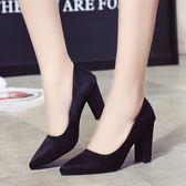 尖頭淺口女鞋子灰色女士高跟鞋中跟粗跟百搭單鞋   可然精品鞋櫃