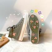 迷戀綠高筒帆布鞋女韓版泫雅風女鞋子夏潮鞋神仙櫻花布鞋新年交換禮物